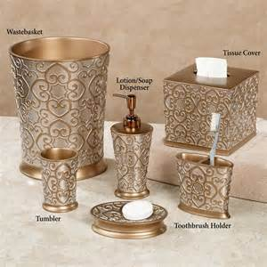 silver and gold bath accessories