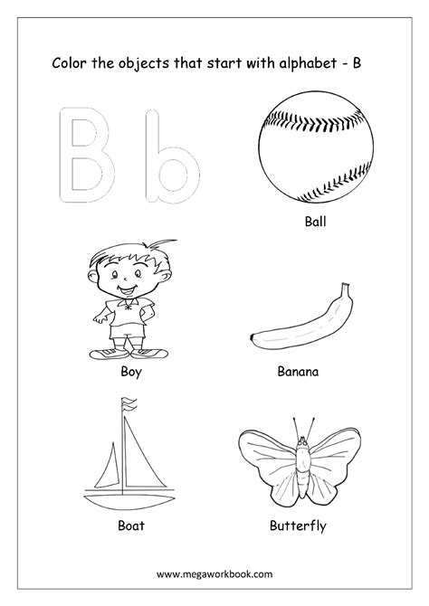 colors starting with a objects worksheets coloring pages