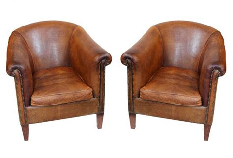 Vintage Leather Club Chairs, Pair   Omero Home