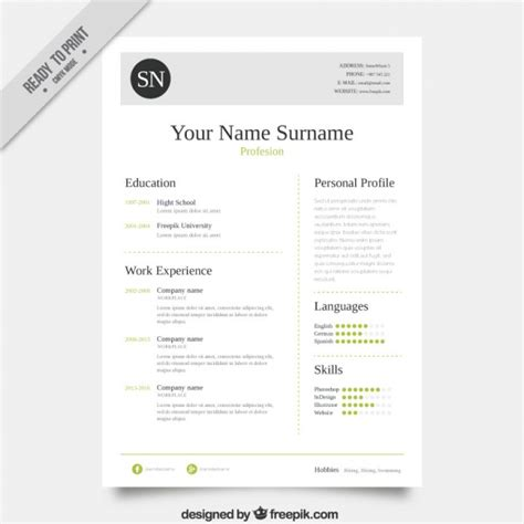 template resume freepik resume template vector free