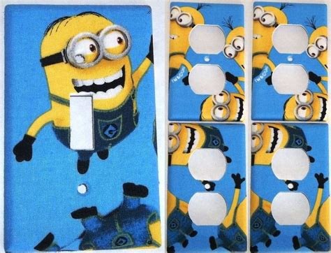 Blue Mininos details about blue minion despicable me light switch cover bedroom bathroom decor set 1 4
