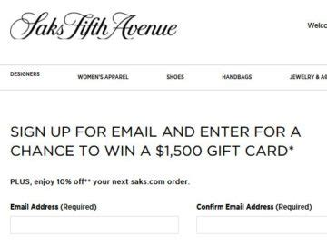 Saks Fifth Gift Card Event - win a 1 500 saks fifth avenue gift card