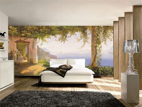 modern interior design with fresco wall murals inspired by mural wall painting ideas home design