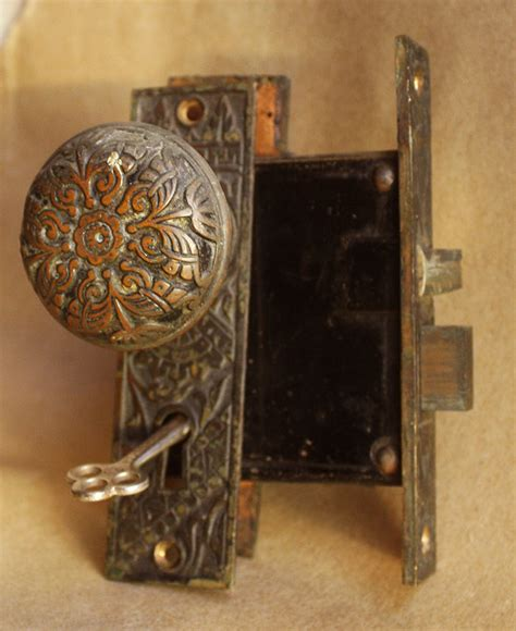 Antique Interior Door Knobs Antique Eastlake Cast Bronze Interior Door Knob Plate Lock Lockset Key Ebay