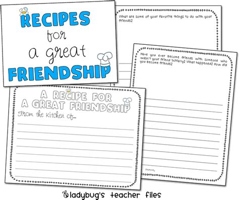 enemy pie friendship writing activities ladybug s
