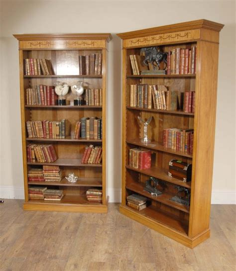 pair 7 ft regency open sheraton bookcases