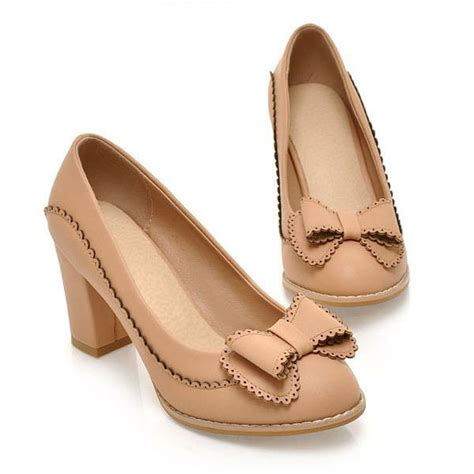 vintage high heels shoes fashion bow style thick heel pumps vintage
