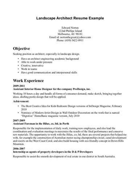 Resume Words For Landscaping Useful Tips For Creating Landscape Architect Resume