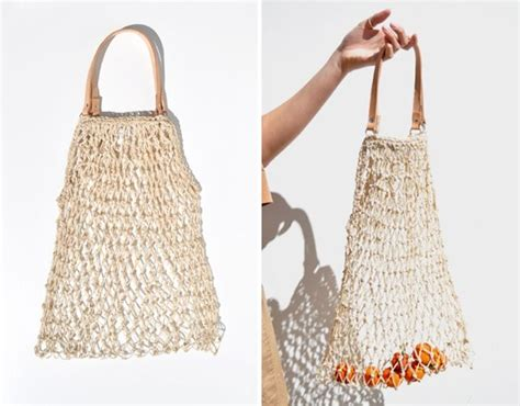woven string grocery bag with leather handle via