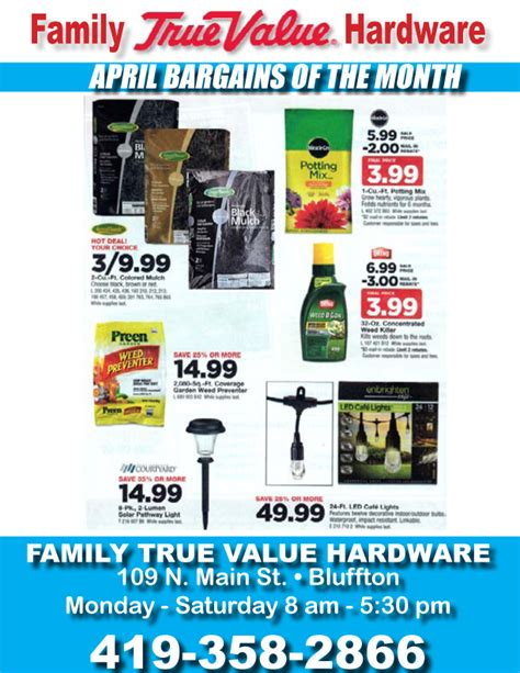 family true value april bargains of the month get you