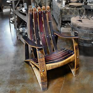 Solid Wood Outdoor Bench Napa General Store Wine Barrel Stave Adirondack Chair