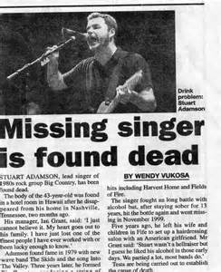 missing singer is found dead stuart adamson