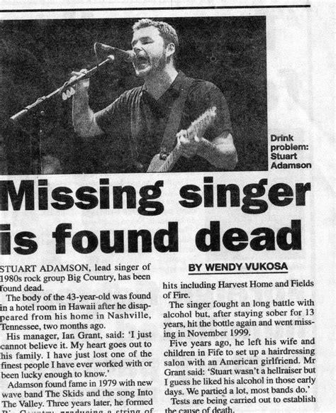 missing singer is found dead stuart adamson