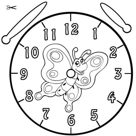 Kostenlose Vorlage Uhr Kostenlose Malvorlage Uhrzeit Lernen Ausmalbild Falter Zum Ausmalen