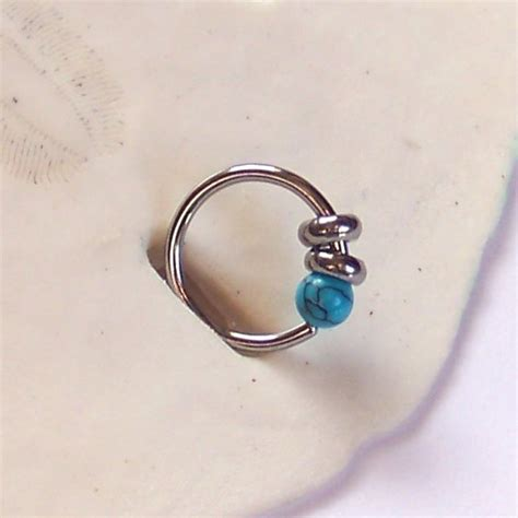 lip ring captive bead ring single turquoise captive ring