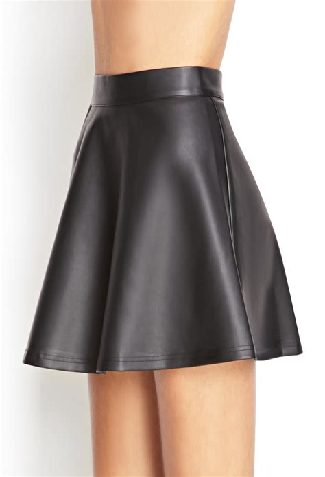 forever 21 faux leather skater skirt in black lyst