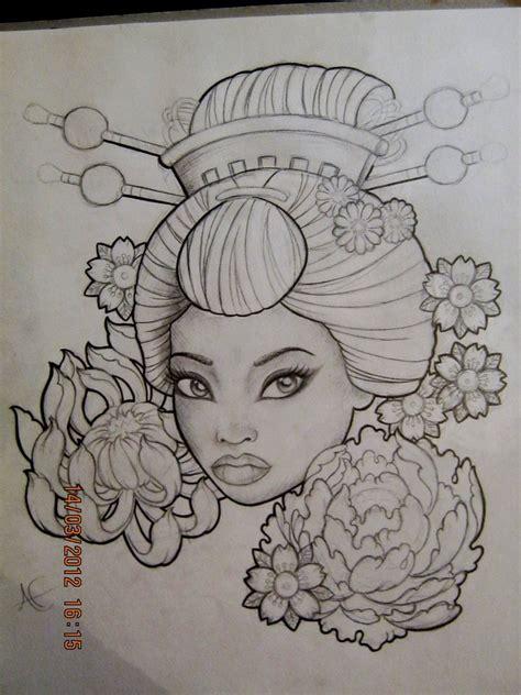 geisha tattoo stencil pin geisha tattoo gueixa on pinterest