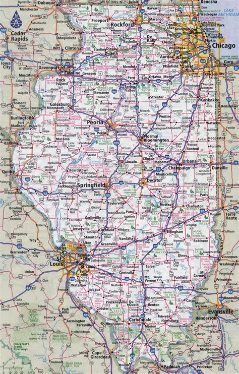 us map illinois state large detailed roads and highways map of illinois state
