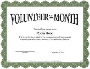 volunteer of the month certificate template certlog
