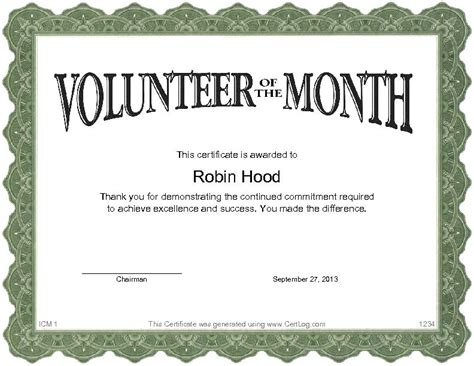 exles of volunteer certificates pictures to pin on