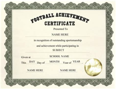 football certificate templates free certificate templates for elementary school
