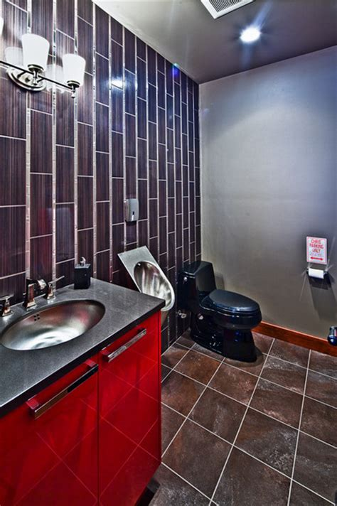 bathroom in garage man cave dream garage contemporary bathroom
