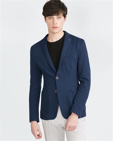 Zara Structured Blazer zara structured blazer in blue for lyst