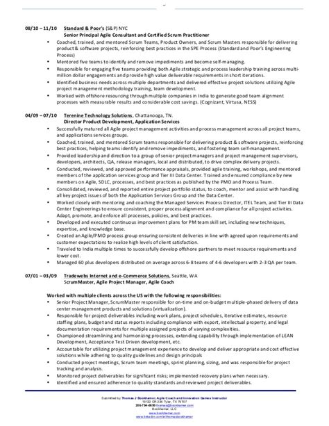 scrum master resume sle scrum master resume baseball coaching