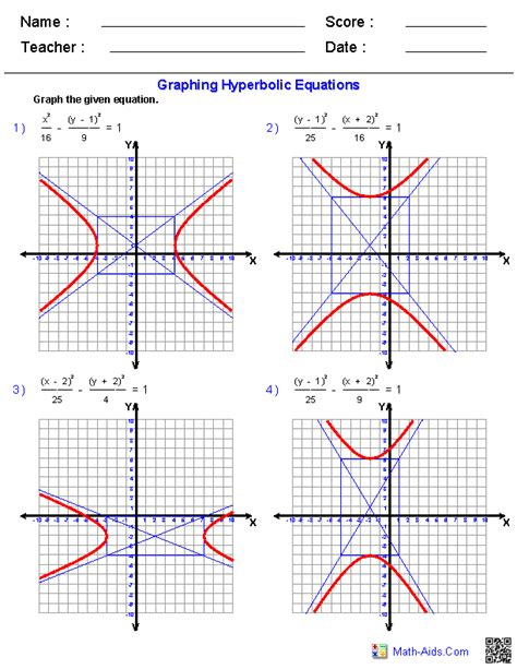 graphing conic sections worksheet algebra 2 worksheets dynamically created algebra 2