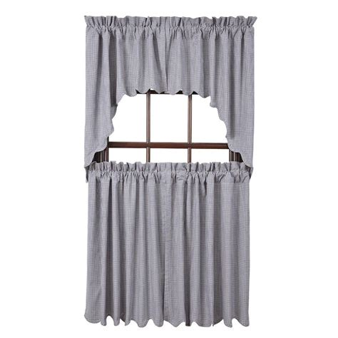 Brown Valance Curtains Maddox Swag Set Curtains Blue Gingham Check Rustic