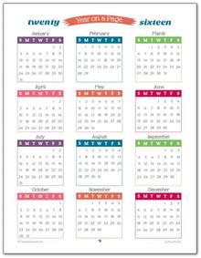 2016 year on page printable calendars are here