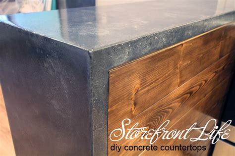 diy wood waterfall countertop concrete countertops the reveal storefront