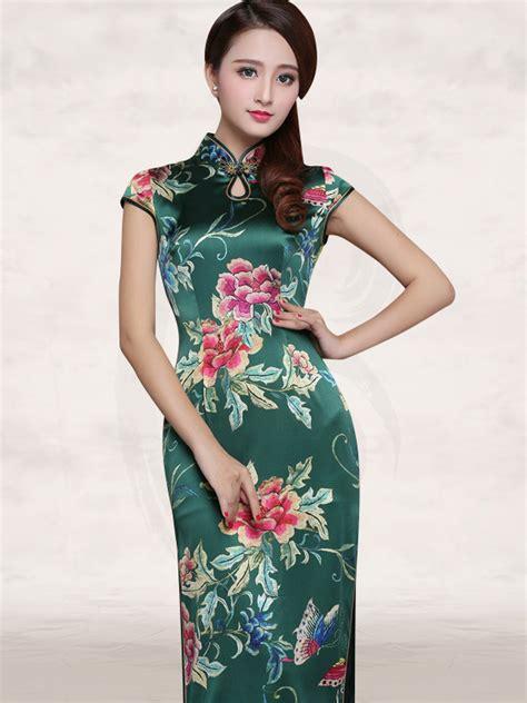 cap sleeve flower silk cheongsam peony floral mandarin collar cap sleeve green silk