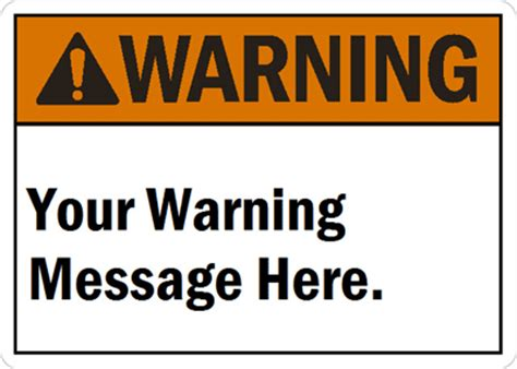 safety sign templates custom ansi signs labels premade templates