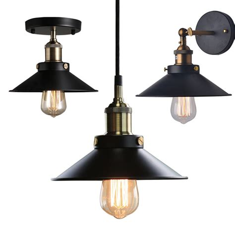 Industrial Pendant Light Fixtures Industrial Metal Ceiling Light Fixtures Pendant Wall L Wall Sconces Lshade Ebay