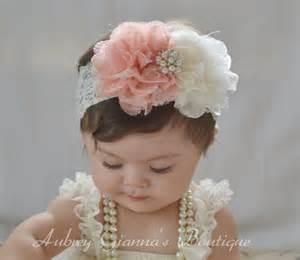 hair bands for babies shabby chic headband ivory baby headband newborn headband baby hair bow newborn photo