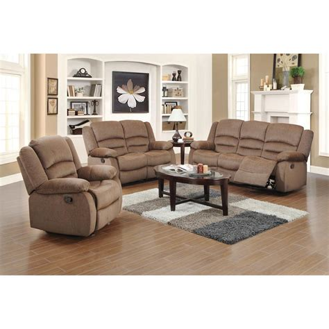 Ellis Contemporary Microfiber 3 Piece Living Room Set Light Furniture For Living Room