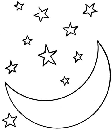 Moon At Starry Night Coloring Page Coloring Sky Starry Coloring Page