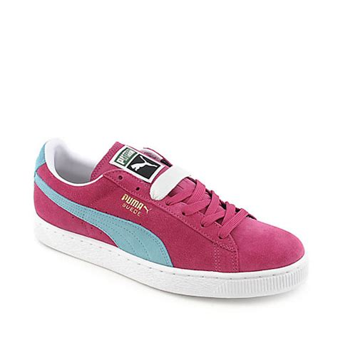 mens suede classic fuschia lace up casual sneaker