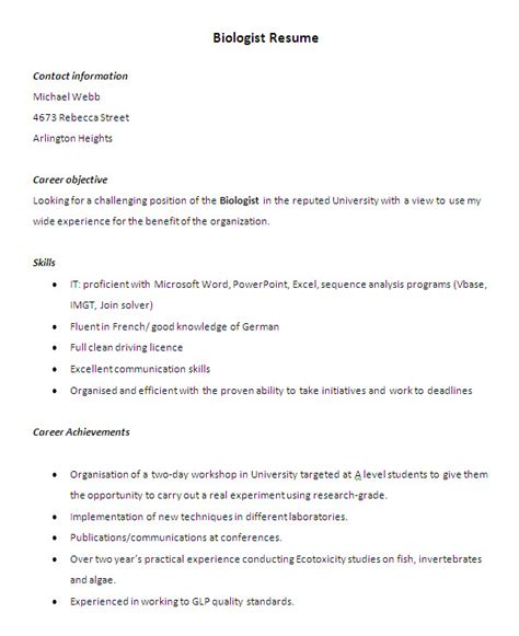 wildlife biology resume exle resume ixiplay free