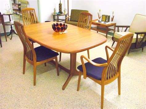 Contemporary Dining Room Design by Vintage Mid Century Modern Dyrlund Danish Teak Dining Set