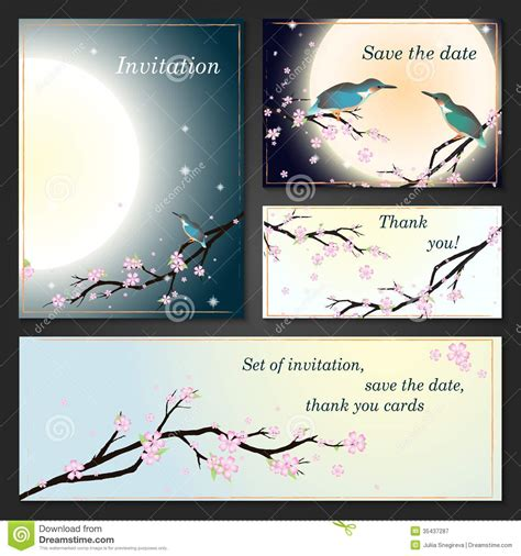 thank you card template with tree invitation cards with stylized cherry blossom stock image