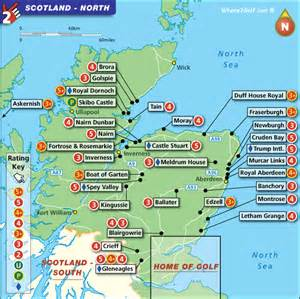golf courses map scotland golf map with top golf courses