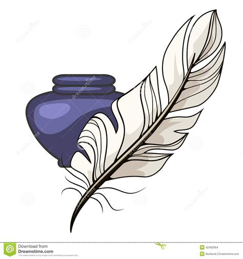 quill sketchbook vintage inkwell and feather stock vector image 42462954