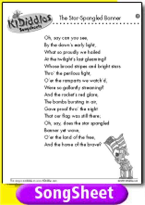 printable lyrics to jingle bombs the star spangled banner song and lyrics from kididdles