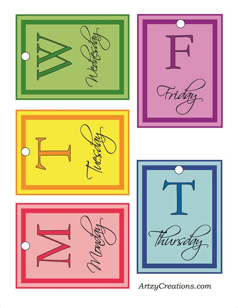 Printable Hanger Tags | days of the week printable archives artzycreations com