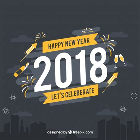 happy new year 2018 let s celebrate vector free download