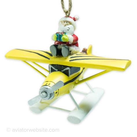 aviation christmas ornament yellow sea plane with santa