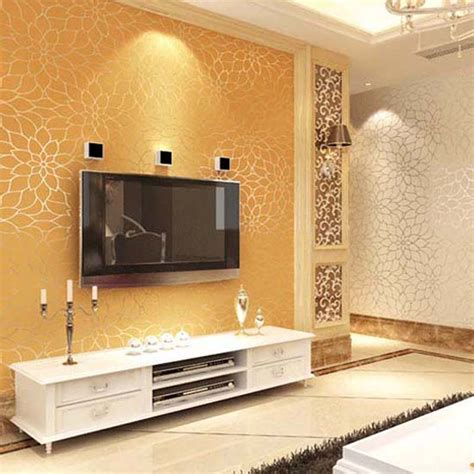 gold wallpaper living room aliexpress buy 10m high quality embossed damask style non wallpaper lotus flower wall