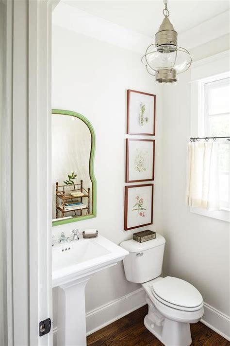 powder bathroom white country powder room with vintage lantern and cafe